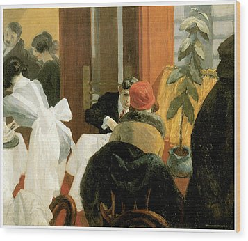 New York Restaurant Wood Print by Edward Hopper