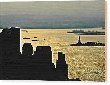 New York Silhouette Wood Print by Alessandro Giorgi Art Photography