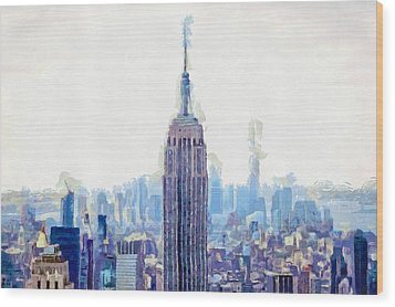 New York Skyline Art- Mixed Media Painting Wood Print by Wall Art Prints