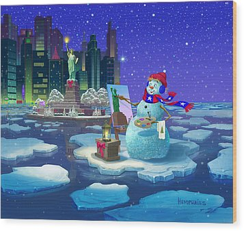 New York Snowman Wood Print by Michael Humphries