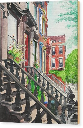 New York Steps Wood Print