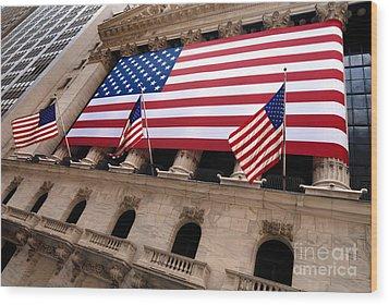 New York Stock Exchange American Flag Wood Print by Amy Cicconi