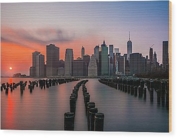 Wood Print featuring the photograph New York Sunset by RC Pics