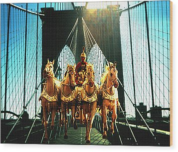 New York Time Machine - Fantasy Art Collage Wood Print by Art America Gallery Peter Potter