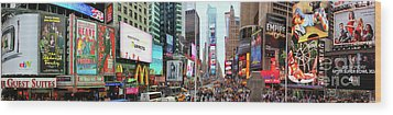 New York Times Square Panorama Wood Print by Kasia Bitner
