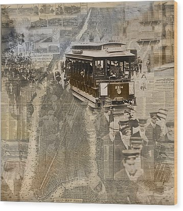 New York Trolley Vintage Photo Collage Wood Print by Karla Beatty