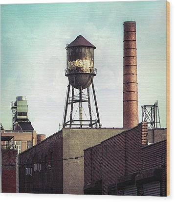 Wood Print featuring the photograph New York Water Towers 19 - Urban Industrial Art Photography by Gary Heller