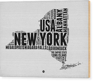 New York Word Cloud Map 2 Wood Print by Naxart Studio