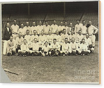 New York Yankees Baseball Team Posed Wood Print by Pg Reproductions