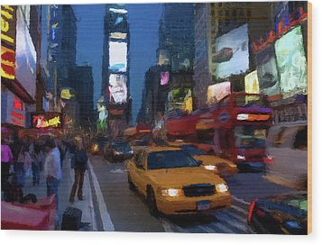 Wood Print featuring the painting New York Yellow Cab by David Dehner