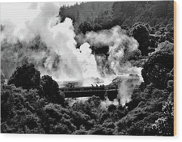 New Zealand - Figures Against Hot-steam - Black And White Wood Print