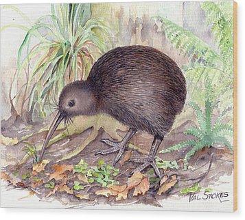 New Zealand Kiwi Wood Print by Val Stokes