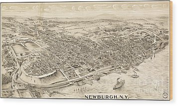 Newburgh Ny Birds Eye Drawing Wood Print