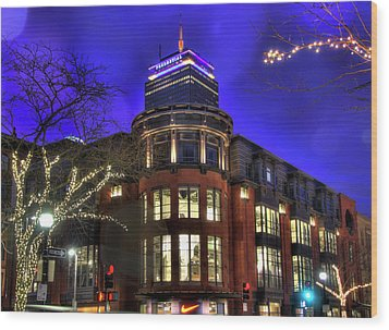 Wood Print featuring the photograph Newbury Street And The Prudential - Back Bay - Boston by Joann Vitali