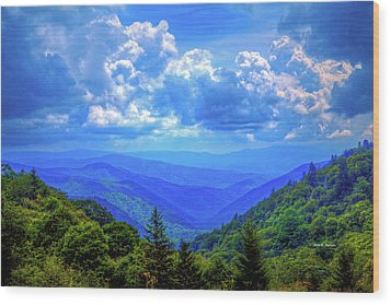 Newfound Gap Wood Print by Dale R Carlson