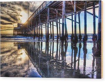 Newport Beach Pier - Reflections Wood Print