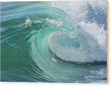 Newport Beach Wave Curl Wood Print by Eddie Yerkish