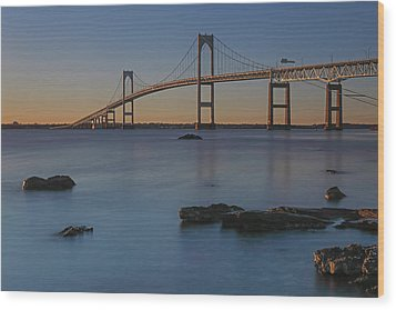 Newport Bridge Wood Print by Juergen Roth