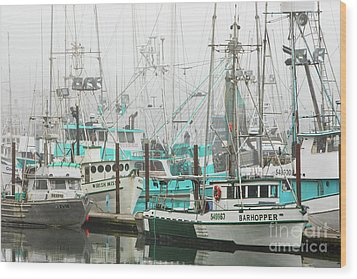 Newport, Oregon Fishing Fleet Wood Print by Jerry Fornarotto