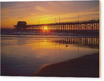 Newport Pier Sunset Wood Print