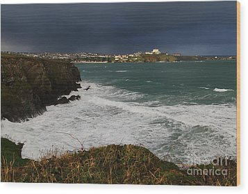 Wood Print featuring the photograph Newquay Squalls On Horizon by Nicholas Burningham