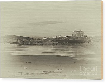 Wood Print featuring the photograph Newquay With Old Watercolor Effect  by Nicholas Burningham