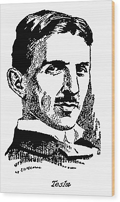 Wood Print featuring the digital art Newspaper Nikola Tesla  by Daniel Hagerman