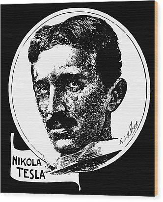 Wood Print featuring the digital art Newspaper Tesla 2 by Daniel Hagerman