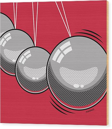 Wood Print featuring the digital art Newton's Cradle by Ron Magnes