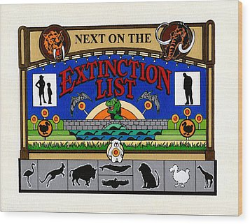 Next On The Extinction List Wood Print by Turtle Caps