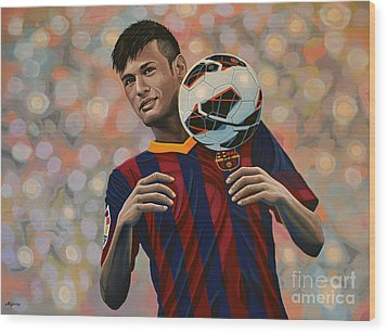 Neymar Wood Print by Paul Meijering