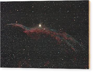 Ngc 6960, The Western Veil Nebula Wood Print by Rolf Geissinger