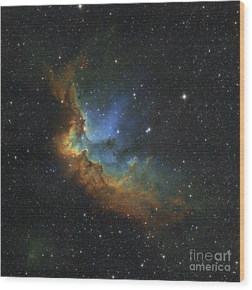 Ngc 7380 In Hubble-palette Colors Wood Print by Rolf Geissinger