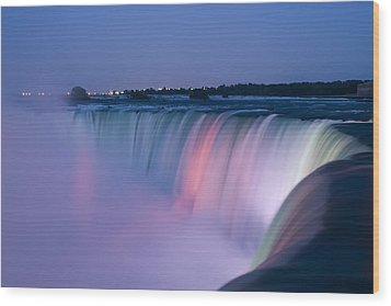 Niagara Falls At Dusk Wood Print by Adam Romanowicz