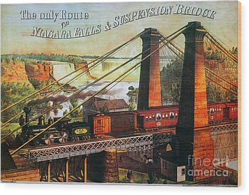 Niagara Falls Bridge, 1876 Wood Print by Granger