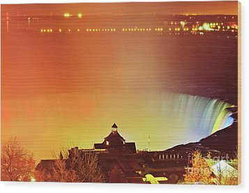 Wood Print featuring the photograph Niagara Falls Illumination Light Show by Charline Xia