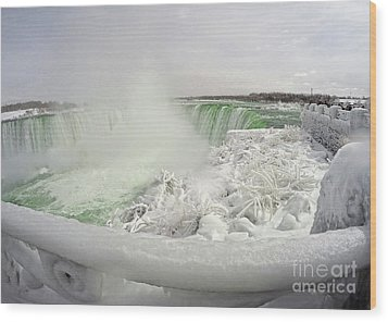 Wood Print featuring the photograph Niagara Falls Winter Crystal Ice Formation by Charline Xia