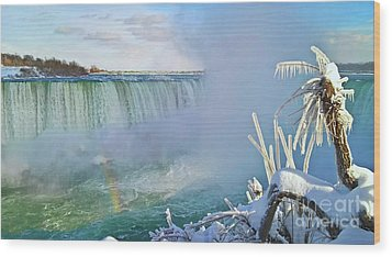 Wood Print featuring the photograph Niagara Falls Winter Landscape by Charline Xia