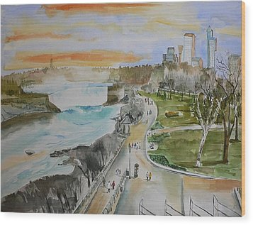 Wood Print featuring the painting Niagara In Spring by Geeta Biswas