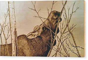 Wood Print featuring the pyrography Nibbling The Willow by Adam Owen