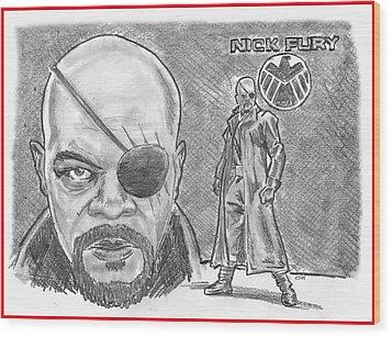 Nick Fury- Agent Of Shield Wood Print by Chris  DelVecchio