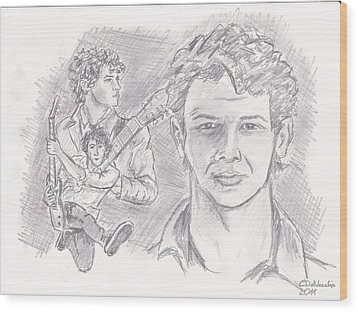 Wood Print featuring the drawing Nick Jonas by Chris  DelVecchio