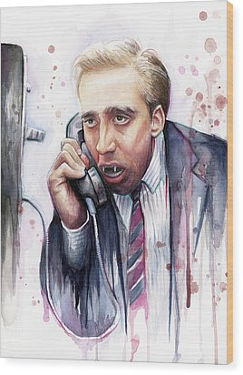Nicolas Cage A Vampire's Kiss Watercolor Art Wood Print by Olga Shvartsur