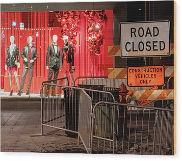 Wood Print featuring the photograph Men At Work  On Nicollet Mall by Jim Hughes