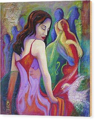 Nidia Wood Print by Claudia Fuenzalida Johns