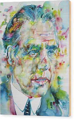 Wood Print featuring the painting Niels Bohr - Watercolor Portrait by Fabrizio Cassetta