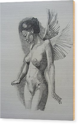 Night Angel Wood Print by Ray Agius