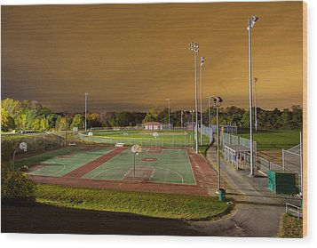 Night At The High School Basketball Court Wood Print by Brian MacLean