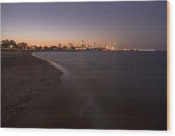 Night Beach And Chicago Skyline Wood Print by Sven Brogren