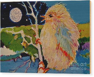 Wood Print featuring the painting Night Bird by Diane Ursin